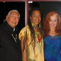 Floyd Red Crow Westerman with Martha Redbone and Bonnie Raitt in Minneapolis at a benefit concert for the Clyde Bellecourt Scholarship Fund where 12 outstanding Native American students who have overcome adversity receive full tuition to study in higher education. Minneapolis Convention Center - May 6, 2005