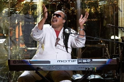 Stevie Wonder, shown here performing in July in New York, will represent the Motown sound during the Rock Hall's 25th anniversary concerts. © Charles Sykes, Associated Press